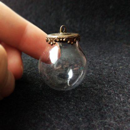 Стеклянная сфера с ажурной площадкой 25мм бронза